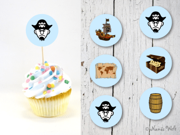 Piraten Cupcake-Topper-Flags Fähnchen Muffins