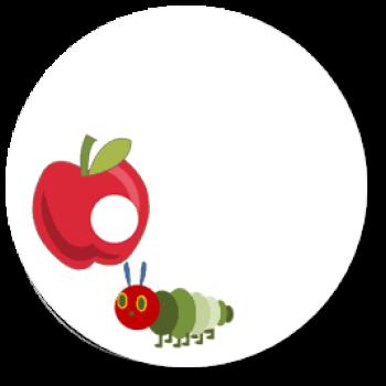 12 Sticker Monate Baby Raupe Apfel Blanko