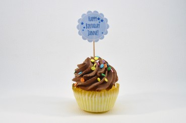 Cupcake-Topper zum Geburtstag Happy Birthday in blau