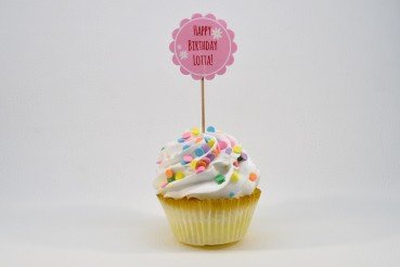 Rosa Cupcake-Topper Happy Birthday Blume