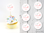 Rosa Vogel mit Wimpelkette Happy Birthday Cupcake-Topper